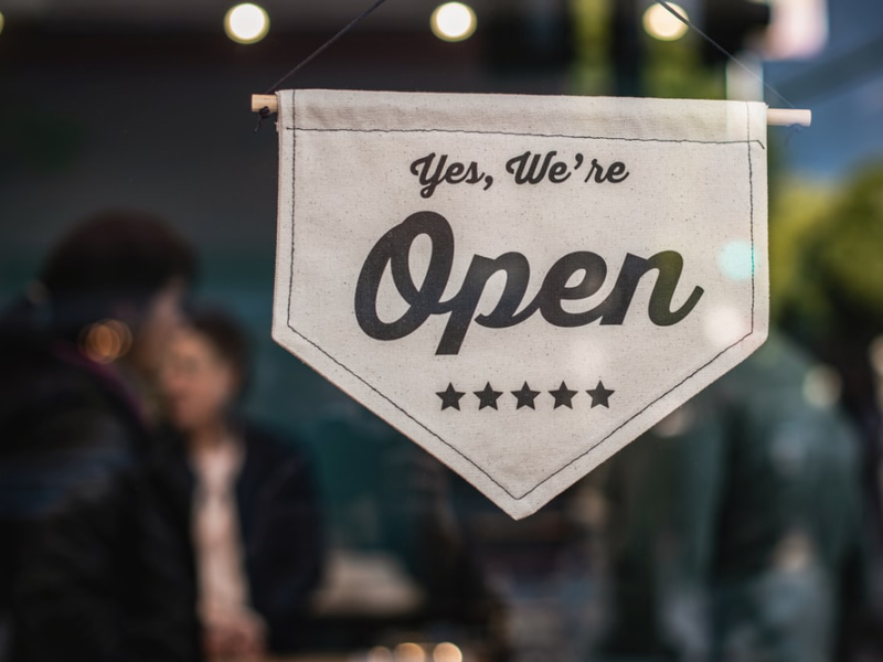a small business' 'open' sign