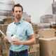 Small business owner checking inventory
