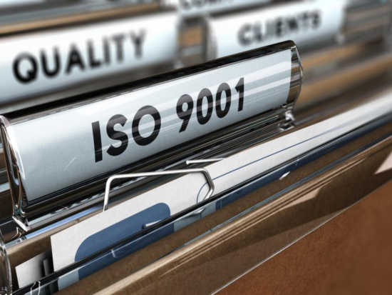 Close up of ISO 9001 file tab.