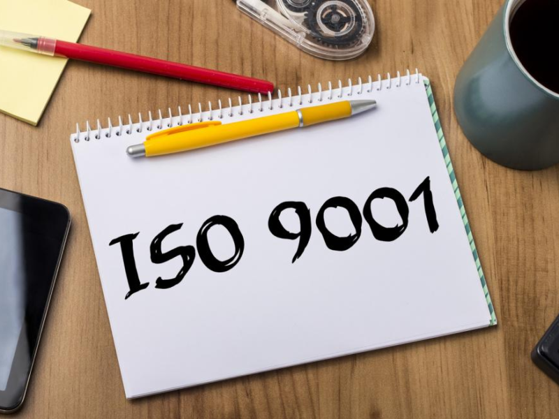 ISO 9001 certification concept.