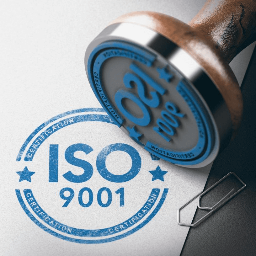 Rubber stamp of ISO 9001 Certification.