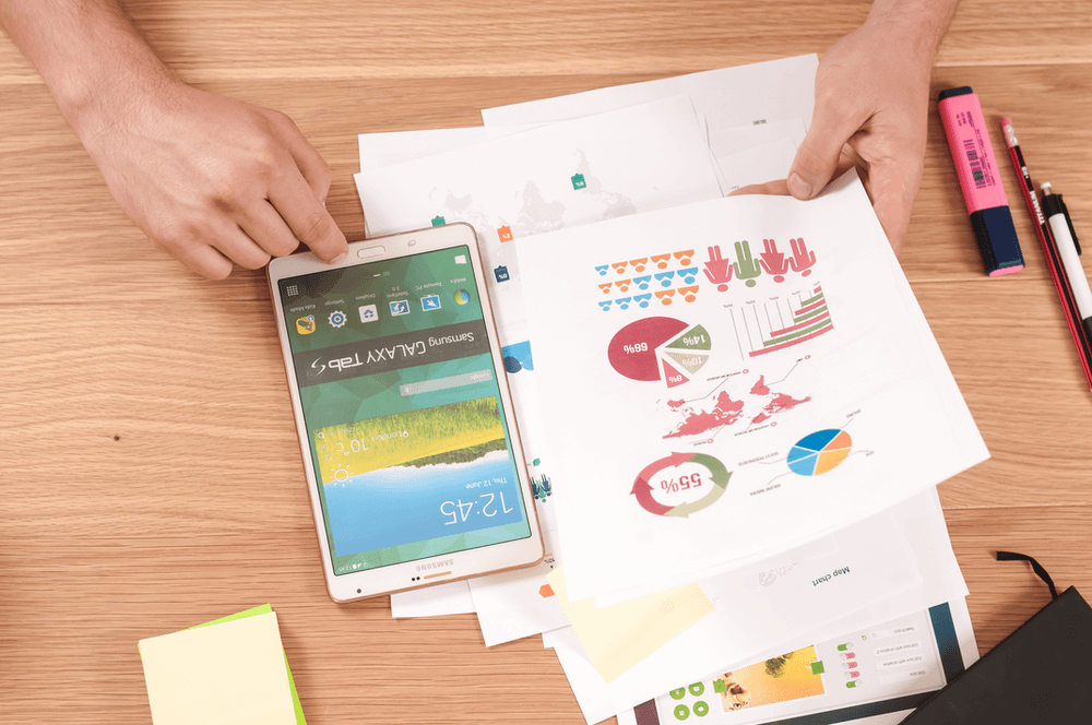 Person auditing business with chart